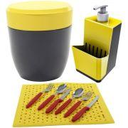 Dispenser Detergente Grade de Pia Lixeirinha 2,5L - Amarelo