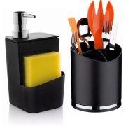 Dispenser Dosador Detergente + Escorredor Porta Talheres