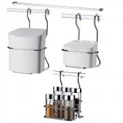 Dispenser P/ Temperos+ Lixeira+ Saleiro+ Barra Aço 45 cm