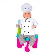 Dólmã Baby Mini Chef de Cozinha com Chapéu Mestre Cuca - Wp Connect