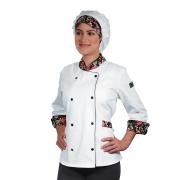 Dólmã Chef de Cozinha Feminina Alpineia Rosas - Wp Connect