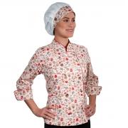 Dólmã Chef de Cozinha Feminina Estampa Café - Wp Connect