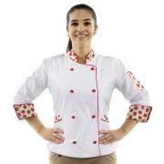 Dólmã Chef de Cozinha Feminina Morangos