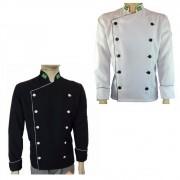Dólmã Chef de Cozinha Tradicional Oxford Branco + Dolmã Chef Preto