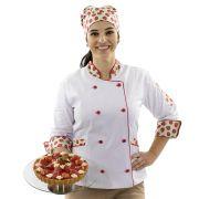 Dólmã Chef Feminino Bandana Morangos