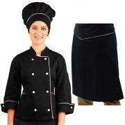 Dólmã Chef Feminino Preto+ Chapéu Toque Blanch+ Avental