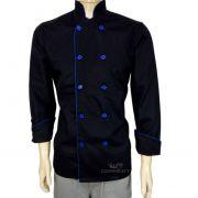 Dólmã Chef de Cozinha Preto/Azul 100% Algodão