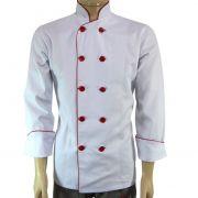Dólmã Chef de Cozinha Branco Detalhes Vermelho 100% Algodão
