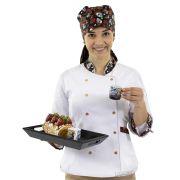 Dólmã e Bandana Chef de Cozinha Caveirinhas Feminino