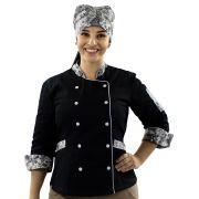 Dólmã e Bandana Chef de Cozinha Flores Feminino
