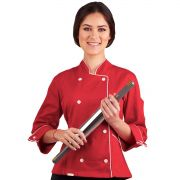 Dólmã Chef de Cozinha Feminino Vermelho 100% Algodão