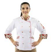 Dólmã Floral Chef de Cozinha Feminino