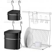 Kit Para Cozinha 3 Pesas Saleiro Escorredor e Lixeira
