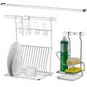 Kit Cozinha Escorredor de Louças Suporte Detergente Barra 60cm