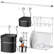 Kit Barra de 80 cm com Acessórios para Cozinha Suspensa