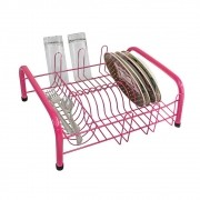 Escorredor de Louças 11 Pratos C/ Porta Talher Embutido - Rosa