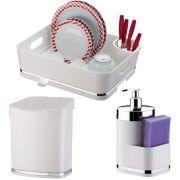 Escorredor Louça Talheres + Dispenser Detergente + Lixeirinha 2,5L