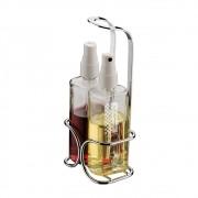 Galheteiro Para Vinagre E Azeite Spray 115ml Suporte 2 Galhetas - Aço  Cromado