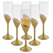 Jogo de Taças de Champagne Espumante 180ml Dourado Perolado 6 Peças