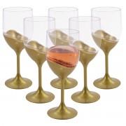Jogo de Taças de Vinho 400ml Dourado Perolado 6 Peças Luxo