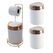 Kit 03 Lixeiras Basculantes  + Suporte para Papel Higiênico