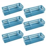 Kit 06 Cestos Organizadores 11x32cm com Divisórias - Wp Connect