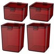 Kit 4 Potes Com Tampa e Trava Hermético Plástico Alimentos - Cores