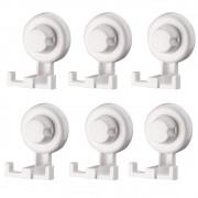 Kit 6 Ganchos Duplos Para Banheiro Lavanderia Plástico Branco