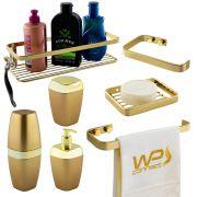 Kit Acessório Banheiro 7 Pçs Dourado Toalheiro Luxo