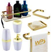 Kit Acessório Banheiro Bancada 7 Peças Dourado