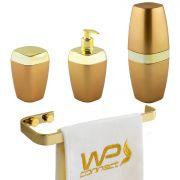 Kit Acessório Banheiro Porta Escova Sabonete Líquido Algodão Toalheiro Dourado