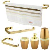 Kit Acessório Banheiro Toalete Porta Toalheiro Dourado Luxo