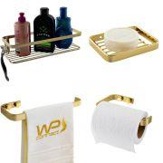 Kit Acessórios Banheiro 4 Peças Dourado Aço Carbono