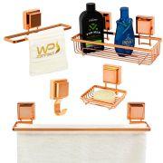Kit Banheiro 5 Peças Rosé Gold Banheiro Acessórios Ventosa