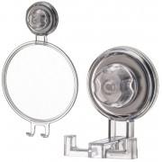Gancho Duplo + Espelho Barbeador Depilação Ventosa - ABS Incolor