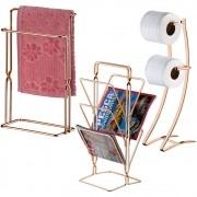 Kit Banheiro Organizado e Decorado Com 3 Peças - Cobre