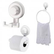 Kit Banheiro Papeleira, Toalheiro e Gancho Duplo ABS Branco Fixação Por Ventosa ABS Branco