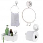 Kit Banheiro Papeleira, Toalheiro, Espelho Antiembaçante e Cesto Retangular Fixação Por Ventosa ABS Branco