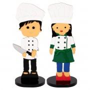 Casal Bonecos Mini Chef Jeff e Mari Adorno Decorativo em MDF