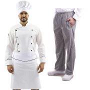 Kit Chef de Cozinha Dólmã Chapéu Calça e Avental Unissex