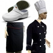 Kit Completo Dolmã Chef Feminina Preta Chapéu Avental Sapato Dolmã