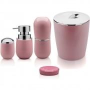 Kit Conjunto 5 peças Sobre Pia Banheiro Lavabo C/ Lixeira Rosa