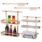 Kit Cozinha Organizada 2 Suportes + Barras 30 e 45 cm Cobre