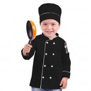 Dólmã Chef de Cozinha Infantil Chapéu Mestre Cuca Preto