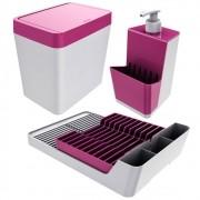 Kit Escorredor de Louça + Lixeira + Dispenser P/ Detergente