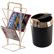 Kit Escritório Recepção Lixeira Basculante 5L e Revisteiro Rosé Gold