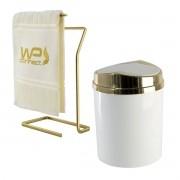 Kit Lixeira Basculante + Toalheiro Bancada Dourado