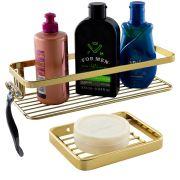 Kit Organizador Banho 2 Peças Porta Shampoo Sabonete Dourado