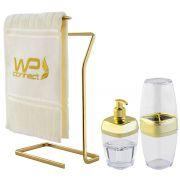 Kit para Banheiro 3pçs Porta Escova Saboneteira Toalheiro