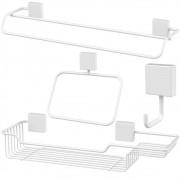 Kit Para Banheiro 4 Peças Fixação Parafuso - Branco
